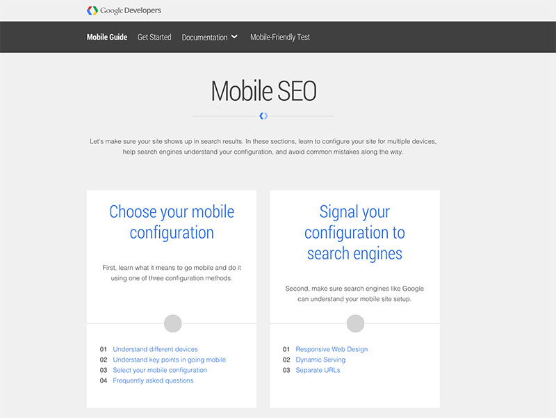 Google's mobile SEO guide screenshot