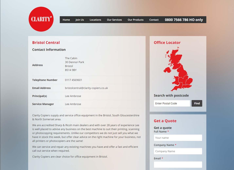 Clarity Copiers website