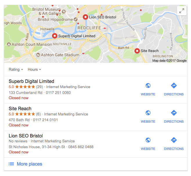 Google Local Pack for SEO Bristol