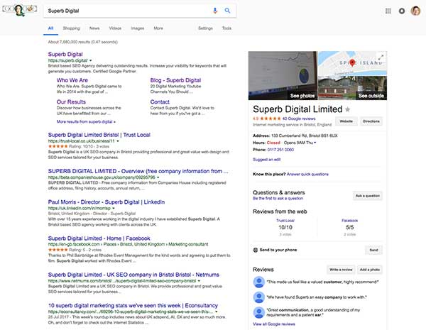 Search for the business on Google Search