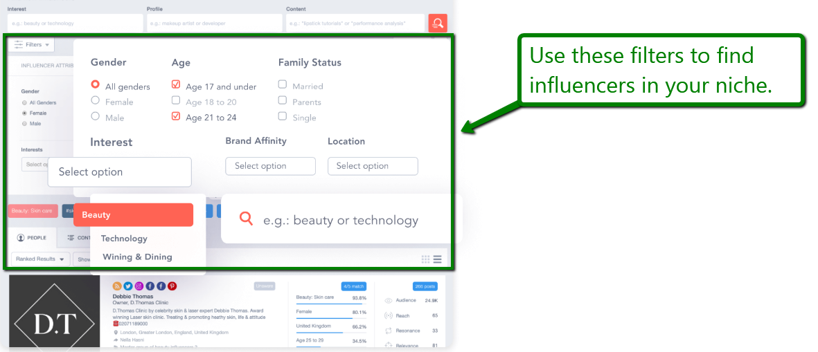 Find influencers in your niche