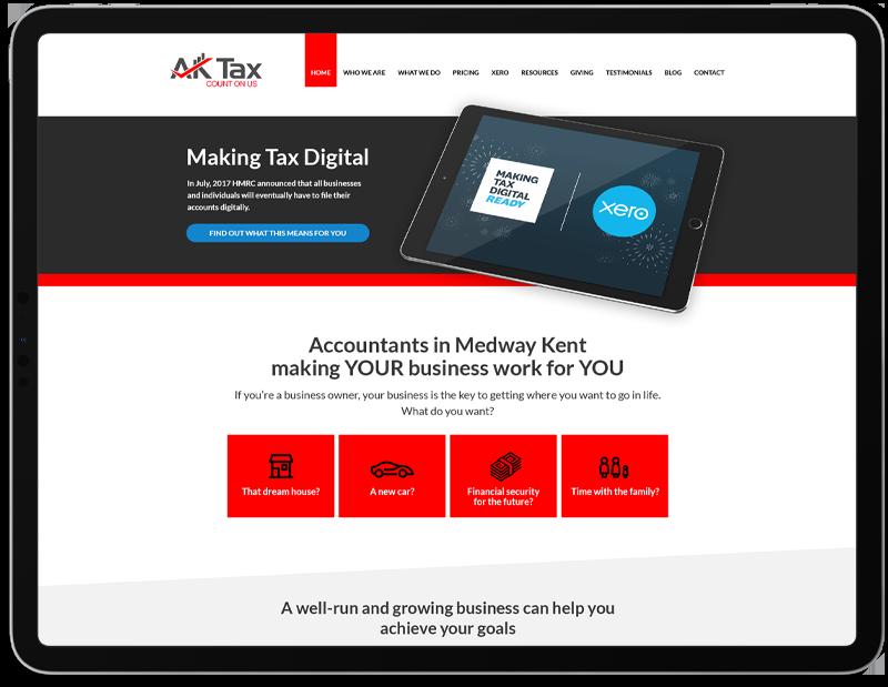 AK Tax Web Design on iPad