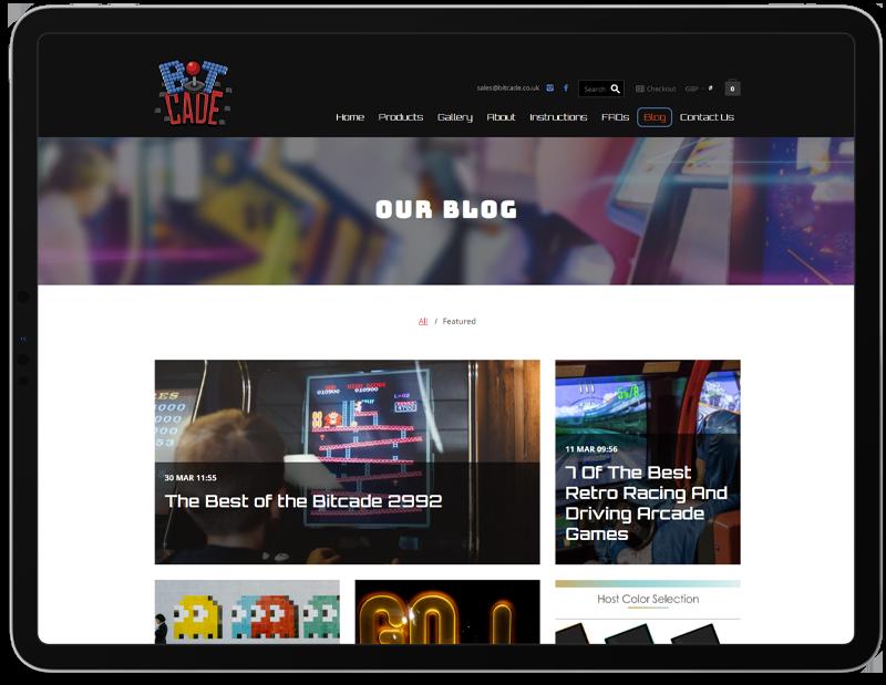 Bitcade Web Design on iPad