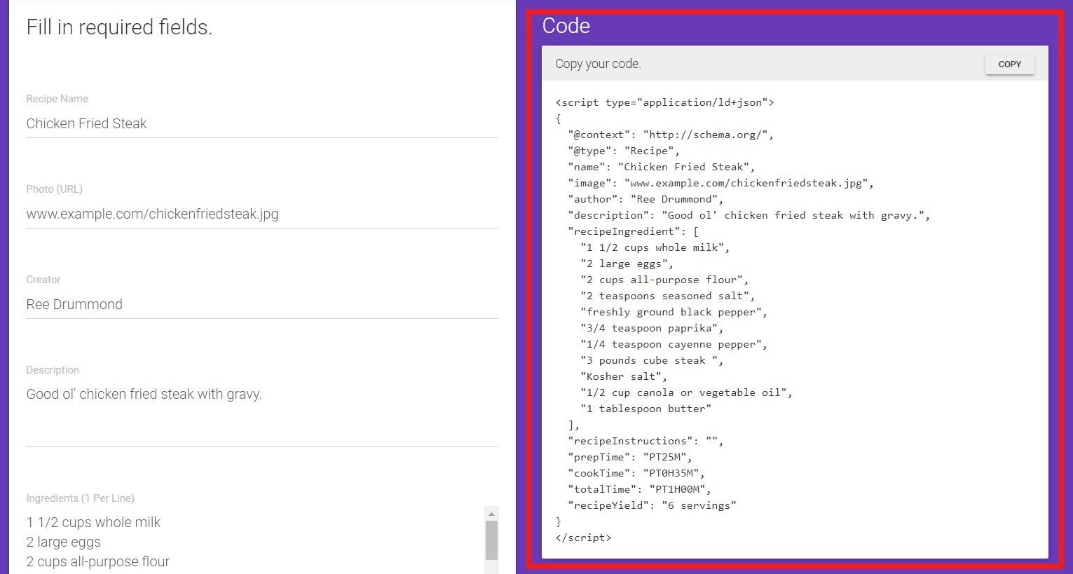 Copy the generated code and paste it below the <head> section of your recipe page's HTML