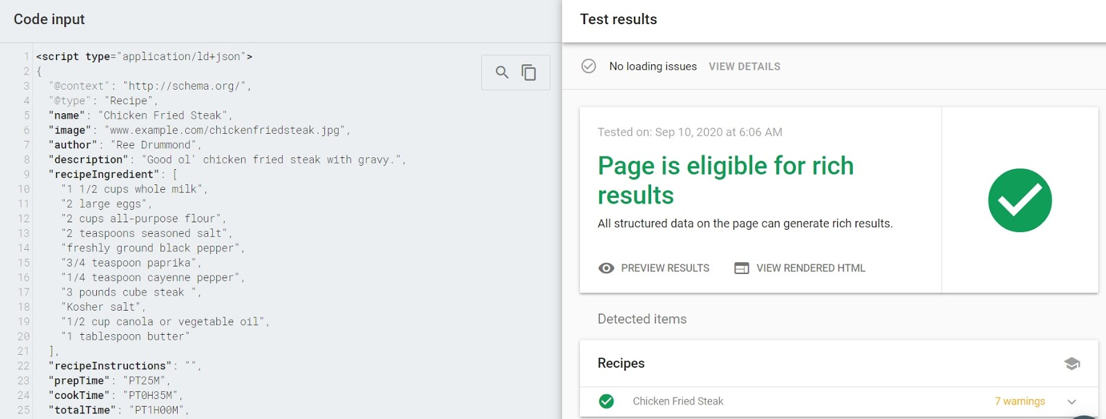 You will know the code is working properly if the test result says that the page is eligible for rich results.