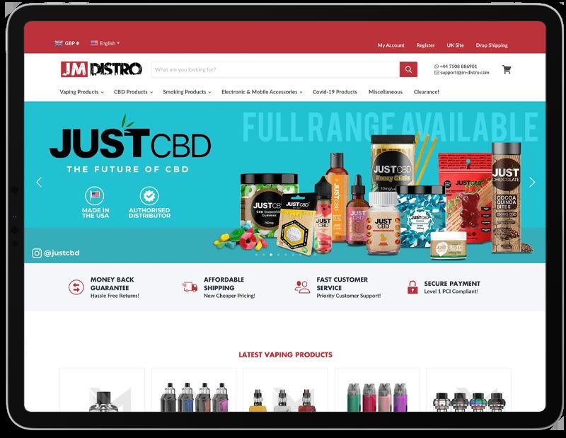 JM Distro Web Design on iPad