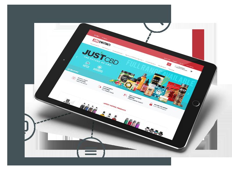 JM Distro website in a tablet