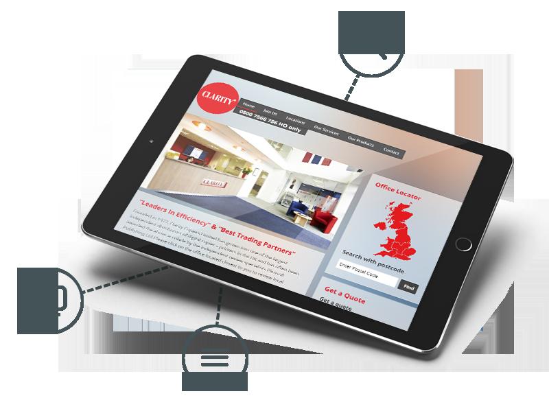 Clarity Copiers website in a tablet