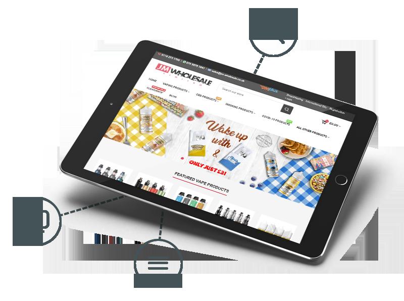 JM Wholesale website in a tablet