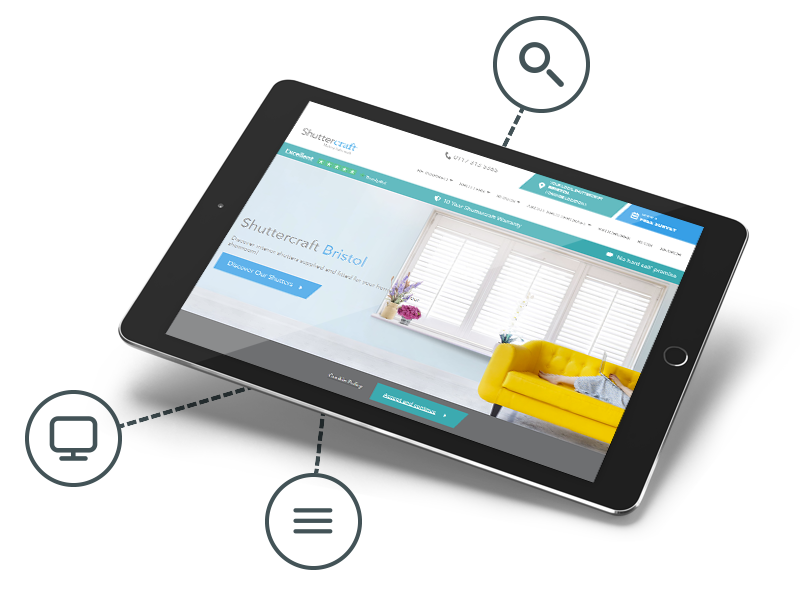 Shuttercraft website in a tablet