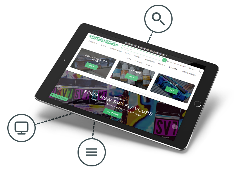 Superior Vapour website in a tablet