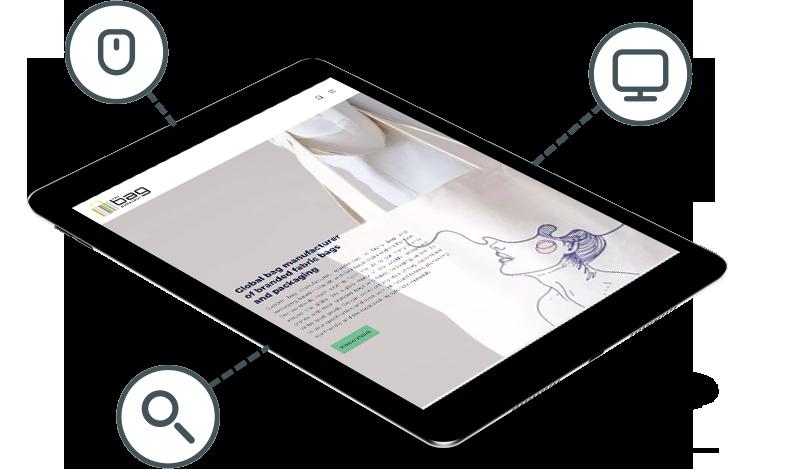 Bag Workshop website in a tablet